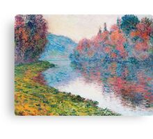 Claude Monet - Banks Of The Seine At Jenfosse Clear Weather Canvas Print