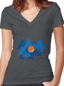 Mountain Geo Women's Fitted V-Neck T-Shirt