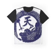 Dragon Indigo Blue On White Graphic T-Shirt