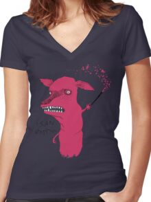 Bad Explanation Art Dog Women's Fitted V-Neck T-Shirt