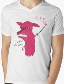 Bad Explanation Art Dog Mens V-Neck T-Shirt