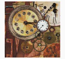 old clocks collage,clock parts,wood table,wood background Baby Tee