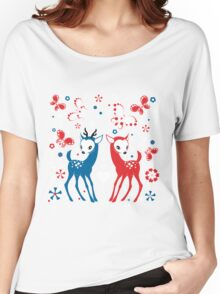 Cute Two Little Deer and Butterflies. Women's Relaxed Fit T-Shirt