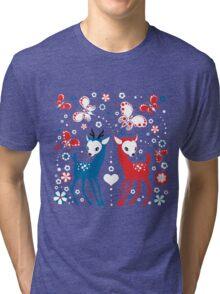 Cute Two Little Deer and Butterflies. Tri-blend T-Shirt