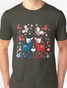 Cute Two Little Deer and Butterflies. Unisex T-Shirt