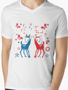 Cute Two Little Deer and Butterflies. Mens V-Neck T-Shirt