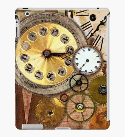 old clocks collage,clock parts,wood table,wood background iPad Case/Skin