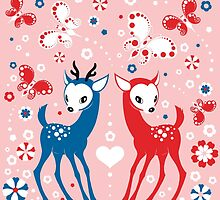 Cute Two Little Deer and Butterflies. by Kimazo