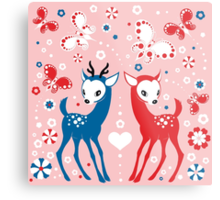 Cute Two Little Deer and Butterflies. Metal Print