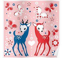 Cute Two Little Deer and Butterflies. Poster