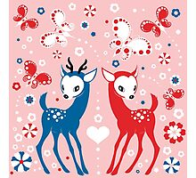 Cute Two Little Deer and Butterflies. Photographic Print
