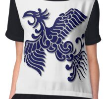 Phoenix Rising Indigo Blue On White Chiffon Top