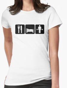 Man Eat Sleep Lift Weights Womens Fitted T-Shirt