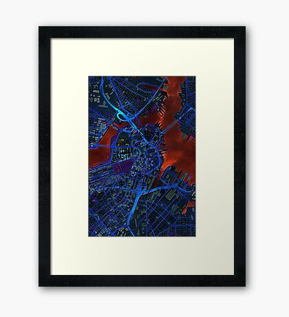 Boston city map dark Framed Print