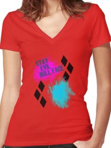 Stay Evil Doll Face Women's Fitted V-Neck T-Shirt
