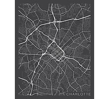 Charlotte Map, USA - Gray Photographic Print