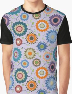 April Flowers with Branches on Purple Graphic T-Shirt