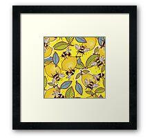 Yellow lemon and bee garden. Framed Print