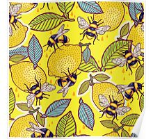 Yellow lemon and bee garden. Poster