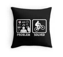 Problem Solved Mountain Biking Throw Pillow