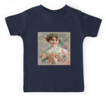 Vintage,beautiful young lady holding a bucket of pink roses Kids Tee