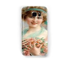 Vintage,beautiful young lady holding a bucket of pink roses Samsung Galaxy Case/Skin