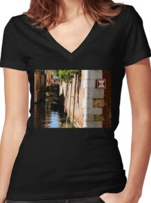 Water Level Women's Fitted V-Neck T-Shirt