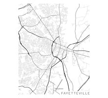 Fayetteville Map, USA - Black and White Photographic Print