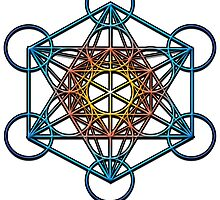 Metatron's Cube (yellow orange blue gradient) Sacred GeometrySymbol Mandala by Leah McNeir