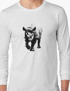 Half Tone Rhinoceros Long Sleeve T-Shirt