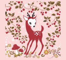 Cute Little Deer under Cherry Tree. T-Shirt