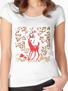 Cute Little Deer under Cherry Tree. Women's Fitted Scoop T-Shirt