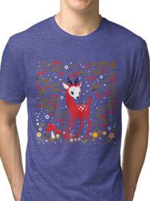 Cute Little Deer under Cherry Tree. Tri-blend T-Shirt
