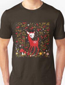Cute Little Deer under Cherry Tree. Unisex T-Shirt