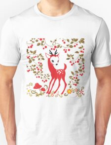 Cute Little Deer under Cherry Tree. Unisex T-Shirt