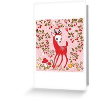 Cute Little Deer under Cherry Tree. Greeting Card