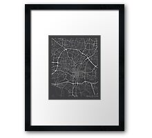 Raleigh Map, USA - Gray Framed Print