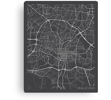 Raleigh Map, USA - Gray Canvas Print