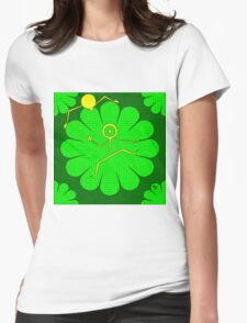 Green Flower Friends Womens Fitted T-Shirt