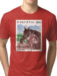 1993 Switzerland Horses Postage Stamp Tri-blend T-Shirt