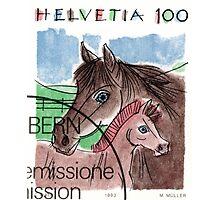 1993 Switzerland Horses Postage Stamp Photographic Print