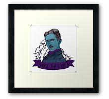 Nikola Tesla - Shock the World Framed Print