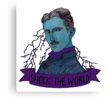 Nikola Tesla - Shock the World Canvas Print