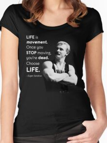 Life Is Movement - Eugen Sandow Old School Bodybuilding Motivaiton Women's Fitted Scoop T-Shirt