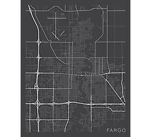Fargo Map, USA - Gray Photographic Print