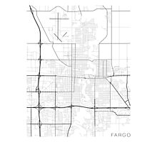 Fargo Map, USA - Black and White Photographic Print