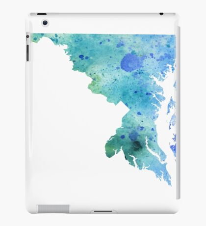 Watercolor Map of Maryland, USA in Blue and Green iPad Case/Skin