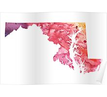 Watercolor Map of Maryland, USA in Orange, Red and Purple - Giclee Print of my Own Painting Poster