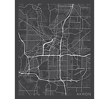 Akron Map, USA - Gray Photographic Print