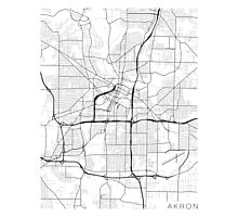 Akron Map, USA - Black and White Photographic Print
